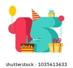 15 year birthday sign. 15th... | Shutterstock .eps vector #1035613633
