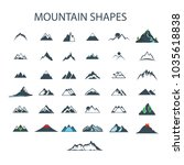 37 mountain shapes drawing low... | Shutterstock .eps vector #1035618838