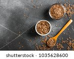 flax seeds linseed superfood... | Shutterstock . vector #1035628600