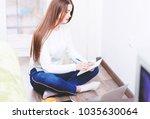 modern for web design. girl... | Shutterstock . vector #1035630064