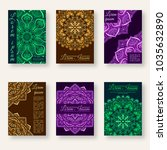 set of six posters with floral... | Shutterstock .eps vector #1035632890