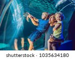 happy family looking at fish in ... | Shutterstock . vector #1035634180