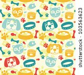 Stock vector bright seamless pattern with funny cat and dog vector illustration 103563623