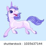 running lilac baby unicorn | Shutterstock .eps vector #1035637144