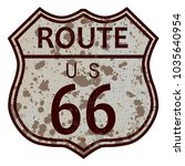 weathered route 66 traffic sign ... | Shutterstock . vector #1035640954