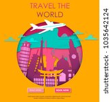 travel to world. vacation. trip ... | Shutterstock .eps vector #1035642124