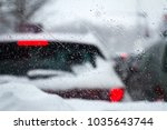 closeup of snowflakes and... | Shutterstock . vector #1035643744