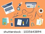 engineer workplace with... | Shutterstock .eps vector #1035643894