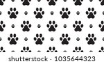 Stock vector paw vector dog paw seamless pattern french bulldog isolated wallpaper background white 1035644323