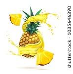 juice splash with pineapple... | Shutterstock .eps vector #1035646390
