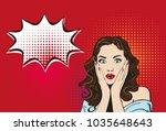surprised girl of pop art looks ...   Shutterstock .eps vector #1035648643