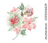 watercolor bouquet with flowers.... | Shutterstock . vector #1035656629