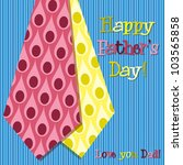 Bright peacock design 'Happy Father's Day' neck tie card in vector format. - stock vector