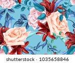 flower vector rose lily flower... | Shutterstock .eps vector #1035658846