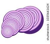sliced onions. purple vegetable.... | Shutterstock .eps vector #1035661624
