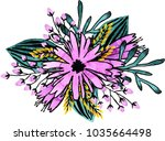 watercolor flowers illustration.... | Shutterstock . vector #1035664498