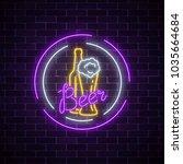 glowing neon signboard of beer...   Shutterstock .eps vector #1035664684