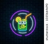 glow neon symbol of cocktails... | Shutterstock .eps vector #1035664690