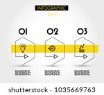 three yellow dotted pointers...   Shutterstock .eps vector #1035669763