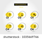 six yellow infographic ellipses ... | Shutterstock .eps vector #1035669766