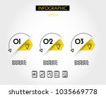 three yellow infographic... | Shutterstock .eps vector #1035669778