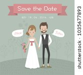 wedding card hipster bride and... | Shutterstock .eps vector #1035677893