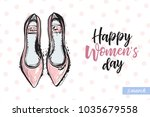 fashionable flat shoes with... | Shutterstock .eps vector #1035679558