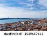 lisbon. bridge and jesus christ ... | Shutterstock . vector #1035680638