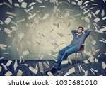 young content man sitting on... | Shutterstock . vector #1035681010