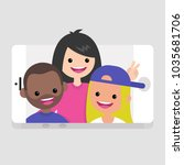 millennials making a selfie.... | Shutterstock .eps vector #1035681706