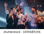 group of friends having fun in... | Shutterstock . vector #1035685156