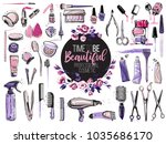 hair cut  manicure  makeup ... | Shutterstock .eps vector #1035686170