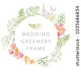 wedding greenery circle frame... | Shutterstock .eps vector #1035686854