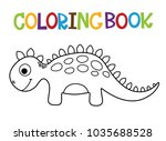 cute dino coloring book. | Shutterstock .eps vector #1035688528