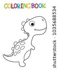 cute dino coloring book. | Shutterstock .eps vector #1035688534