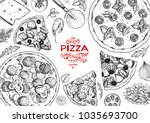 italian pizza and ingredients... | Shutterstock .eps vector #1035693700