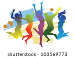 jumping peoples | Shutterstock .eps vector #103569773
