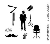 barber shop vector icons set.  | Shutterstock .eps vector #1035700684