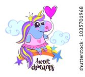 sweat dreams. cartoon unicorn...   Shutterstock .eps vector #1035701968