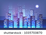 night city skyline with neon... | Shutterstock .eps vector #1035703870