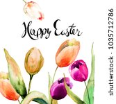 greeting card with tulips... | Shutterstock . vector #1035712786