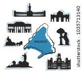 madrid city landmarks and... | Shutterstock .eps vector #1035713140