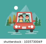 happy couple driving in their... | Shutterstock .eps vector #1035730069
