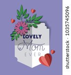 happy mothers day with floral... | Shutterstock .eps vector #1035745096