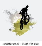 silhouette of bicycle jumper | Shutterstock .eps vector #1035745150