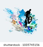 silhouette of bicycle jumper | Shutterstock .eps vector #1035745156