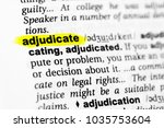 """Small photo of Highlighted English word """"adjudicate"""" and its definition in the dictionary."""