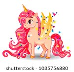 pony unicorn with golden wings... | Shutterstock .eps vector #1035756880