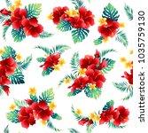 hibiscus flower pattern  | Shutterstock .eps vector #1035759130
