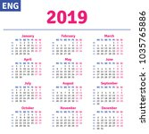 english calendar 2019 ... | Shutterstock .eps vector #1035765886